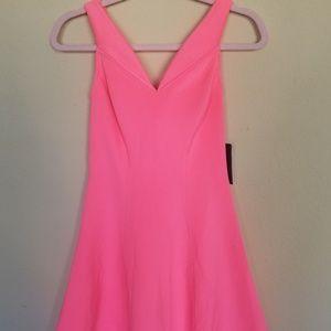 Guess hot pink off the shoulder dress